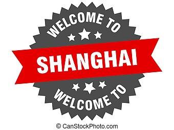 signo., bienvenida, shanghai, rojo, pegatina