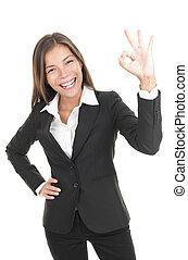signo bueno, mujer de negocios