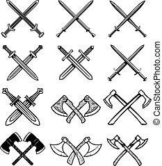 signo., conjunto, axes., etiqueta, elemento, diseño, emblema, logotipo, antiguo, espadas, caballero, weapon.