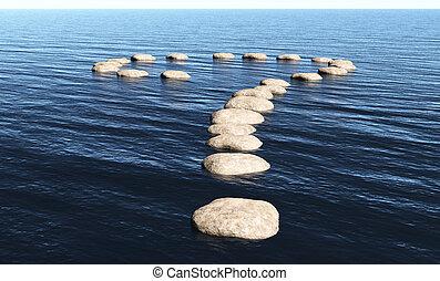 signo de interrogación, de, piedras, en, el, agua