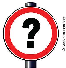signo de interrogación, señal de tráfico