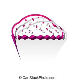 signo., desmontable, cupcake, papel, underlying, vector., ...
