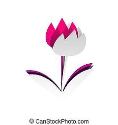 signo., desmontable, l, papel, tulipán, underlying, vector...