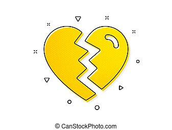 signo., divorcio, amor, arriba, icon., interrupción, vector