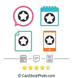 signo estrella, icon., favorito, button., navigation.