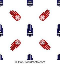 signo., fondo., azul, dharma, jainism, o, símbolo, ahimsa., ...