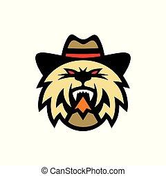signo., gato, sombrero, vaquero