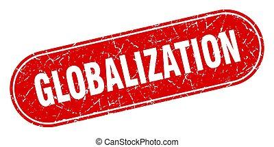 signo., globalización, etiqueta, stamp., grunge rojo