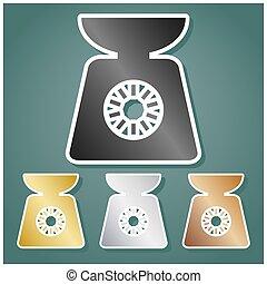 signo., gradiente, conjunto, fondo., illustration., bronce, blanco, escalas, cocina, iconos, oro, gris, sombra, contorno, metálico, viridan, plata