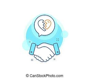 signo., línea, divorcio, amor, arriba, icon., interrupción, vector