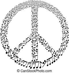 signo paz, con, notas musicales