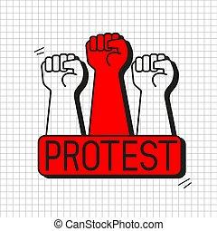 signo., potencia, proletarian, protesta, mano, puño,...