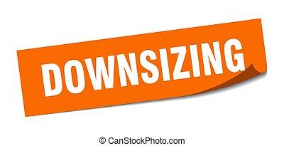 signo., reducción, downsizing., sticker., cuadrado, policía