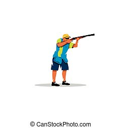 signo., vector, disparando, illustration., arcilla