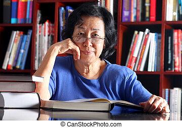 signora, asiatico, biblioteca, maturo