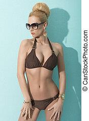 signora, bikini, occhiali da sole, sensuale