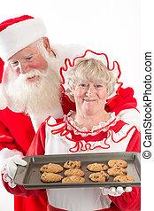 signora, biscotti, claus, santa