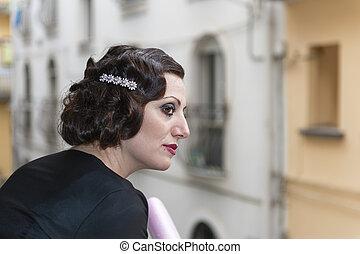 signora, con, capelli, in, stile retro