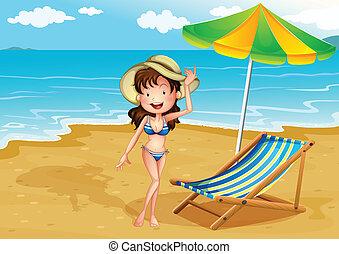 signora, estate, godere, spiaggia