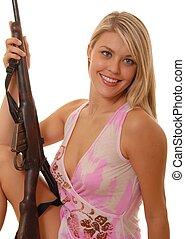 signora, fucile, due