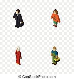 signora, isometrico, set, elements., persone, idraulico, idraulico, donna, include, anche, vettore, investitore, objects., femmina, altro