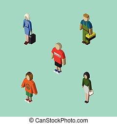 signora, isometrico, set, hippie, elements., persone, insegnante, idraulico, objects., include, anche, vettore, tipo, pedagogo, altro