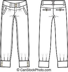 signora, jeans denim, con, dettagli