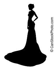 signora, nobile, silhouette