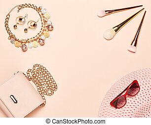 signora, set, moda, accessori
