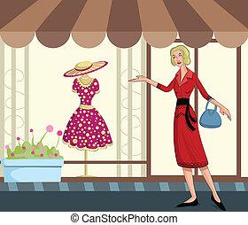 signora, shopping, retro