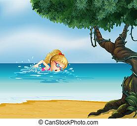 signora, spiaggia, giovane, nuoto