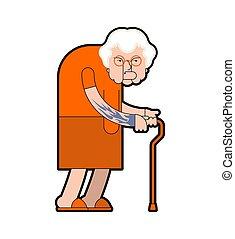 signora, vecchio, robes., illustrazione, nonna, gangster, vettore, prigioniero, crime., nonna, arancia, tattoo.