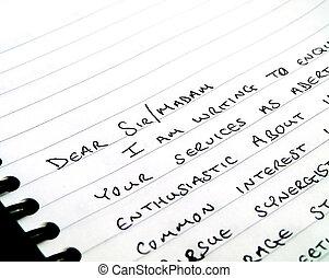 signore, blocco note, lettera scrittura, caro, scritto mano
