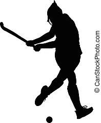 signore, palla, silhouette, colpire, giocatore, hockey, ragazza