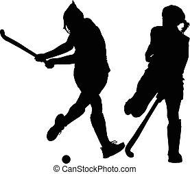 signore, palla, silhouette, colpire, lettori, hockey, ragazza, bloccare