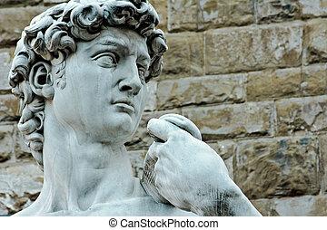 signoria, cuadrado, florencia, estatua, david