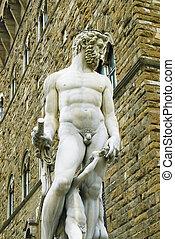 signoria, della, plaza, florencia, sculture, italia
