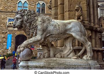 signoria, florencia, italia, león, estatua, cuadrado