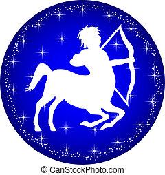 signos, botão, sagittarius