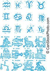 signos, constelação, símbolo