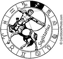 signos, pretas, branca, sagittarius