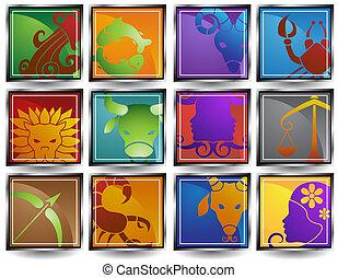 signos, quadro, ícones animais