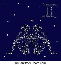 signos, sinal, gêmeos, ligado, a, céu estrelado