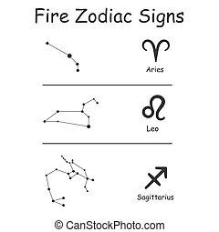 signos, vetorial, sinais, fogo, elementos