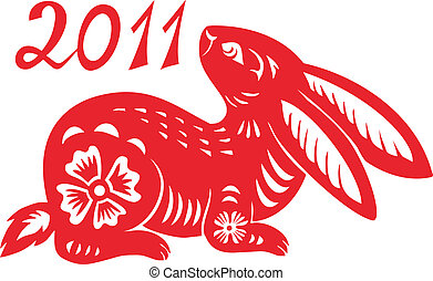 signos, year., coelho, chinês