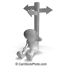 Signpost And 3d Man Showing Confusion And Decision -...