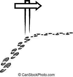 signpost and footprints