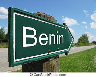 signpost, ao longo, benin, estrada, rural