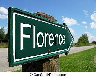 signpost, ao longo, florença, estrada, rural