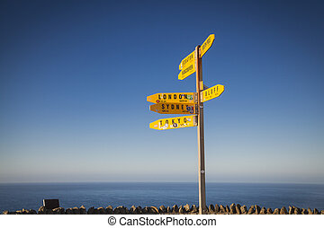Signpost at Cape Reinga New Zealand